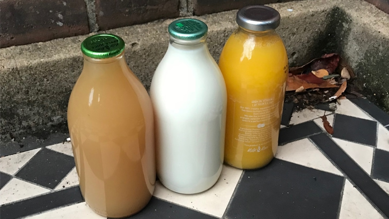 Milk bottles by the front door