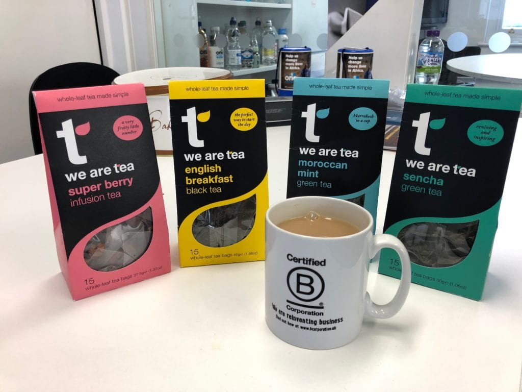B Corp mug and four types of teas