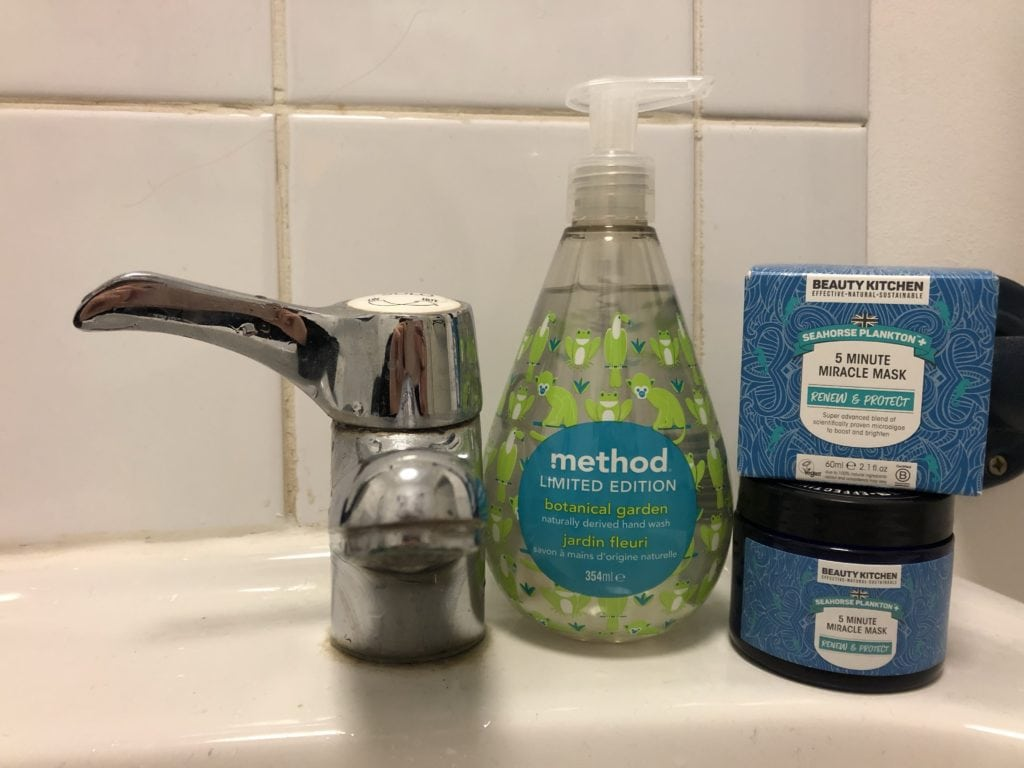 Method soap and Beauty Kitchen face mask on sink