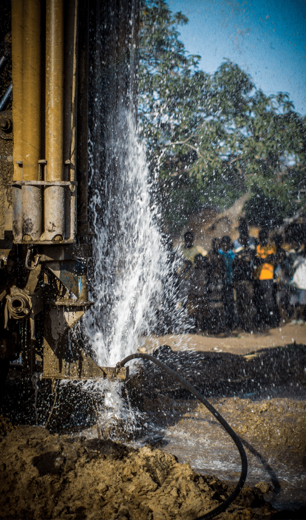 Borehole being drilled